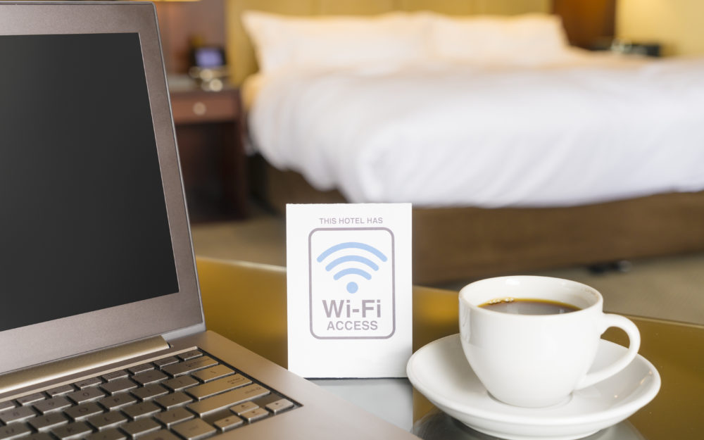 Laptop in a hotel room