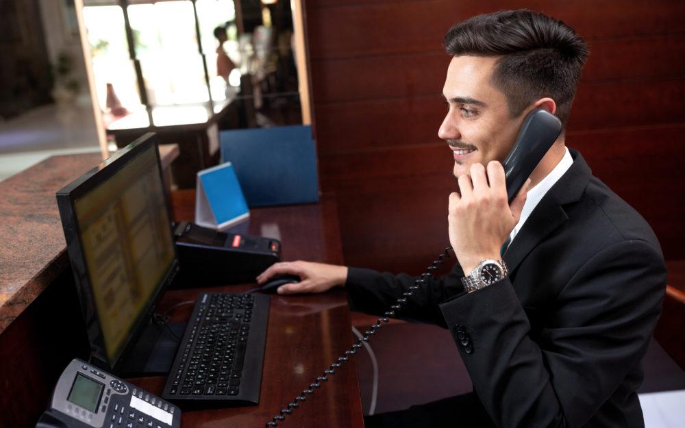 Man answering a phone
